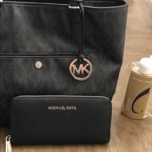 Michael Kors tote wallet and leather conditioner